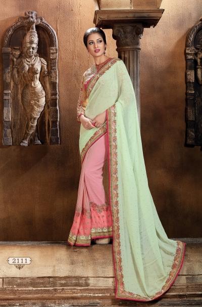 Pista Green and Pink Faux Georgette Designer Saree