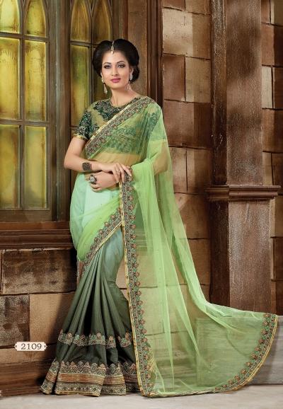 Green   Net and Art silk Designer Saree