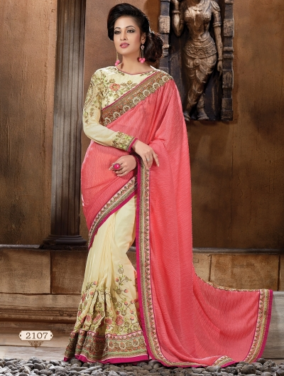 Pink and off white Lycra and Art silk Designer Saree