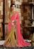 Pink and Beige Faux Georgette Designer Saree