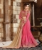 Beige and Pink Faux georgette and Art silk Designer Saree