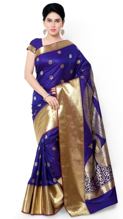 Exclusive big Peacock Pallu Paithani Theam Silk Saree - Blue