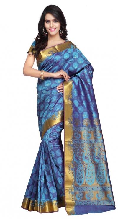 Exclusive Art Silk Paithani theme Border & Rich Zari butta saree - Ananda