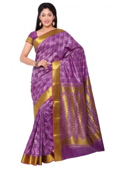 Nandani Silk Mordern Paisley Rich Zari Pallu Art saree-Lavender