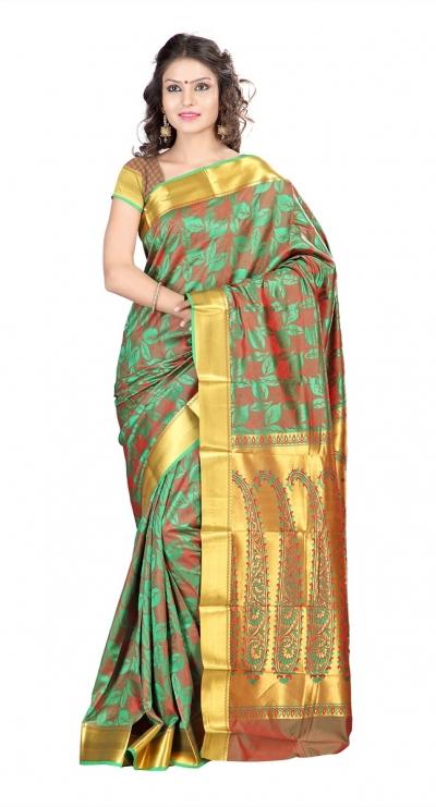 Nandani Silk Mordern Paisley Rich Zari Pallu Art saree-Pakistani Green