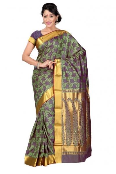 Nandani Silk Mordern Paisley Rich Zari Pallu Art saree-Pastel Green