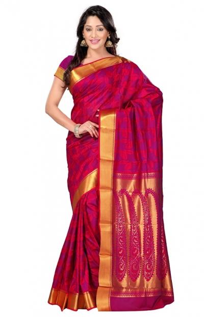 Nandani Silk Mordern Paisley Rich Zari Pallu Art saree-Red