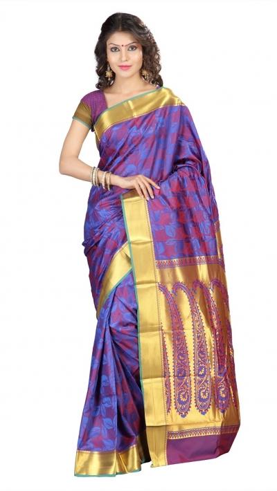 Nandani Silk Mordern Paisley Rich Zari Pallu Art saree-Royal Blue