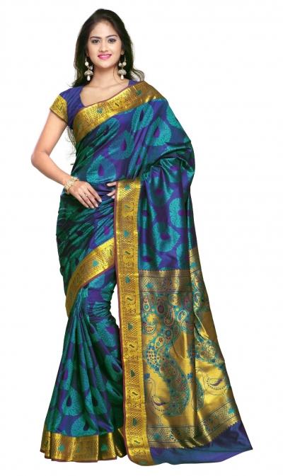 Designer Paithani Pallu Art Saree-Rama Green