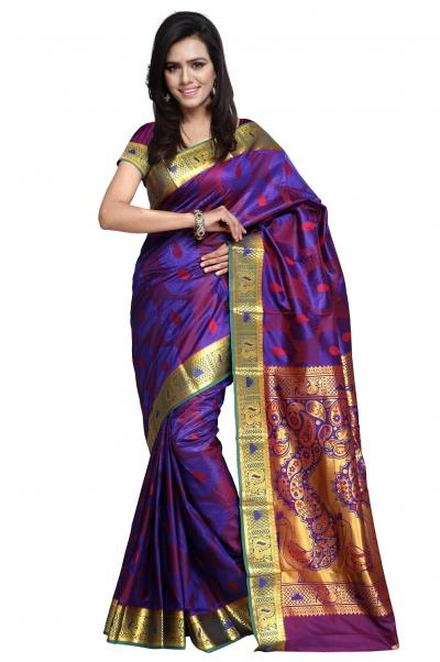 Designer Paithani Pallu Art Saree-Royal Blue