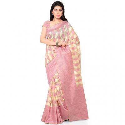 Silk woven Net Chanderi Sico saree-Peach