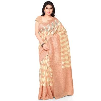 Silk woven Net Chanderi Sico saree-Orange