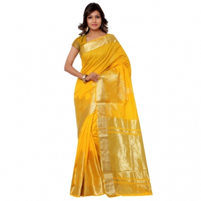 Banarasi Pure Viscose Cotton Silk Exclusive Zari Daman Saree-Gold