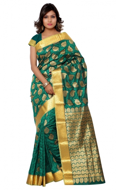 Kanchipuram Art Silk Saree leaf design With Blouse Piece-Rama Green