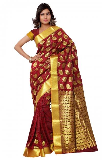 Kanchipuram Art Silk Saree leaf design With Blouse Piece-Red