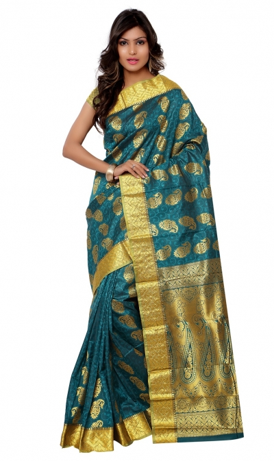 Kanchipuram Art Silk Saree Mango design With Blouse Piece-Rama Green