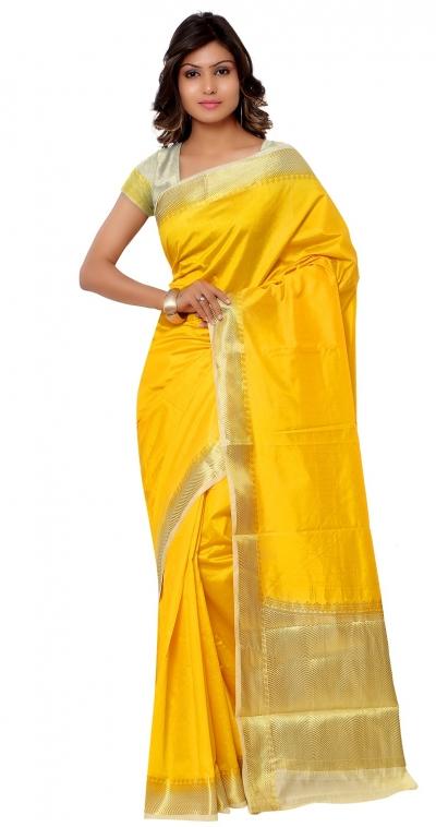 Kanjivaram Raw Silk Contrast Green Pallu Saree-Mustard