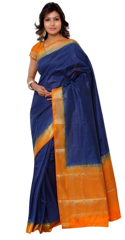 Kanjivaram Raw Silk Contrast Green Pallu Saree-Navy Blue