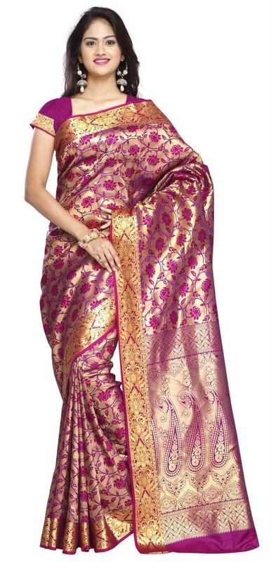 Kanchipuram Silk Full Brocade Zari lotus Saree -Rani