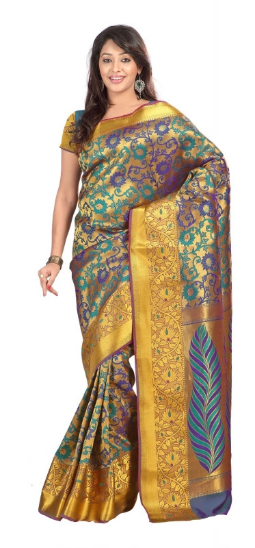 Kanchipuram Silk Full Brocade Zari Art flower Saree-Rama Green