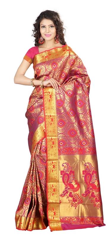 Kanchipuram Silk Full Brocade Zari Art big flower Saree-Red