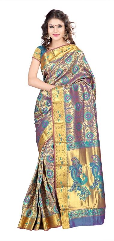 Kanchipuram Silk Full Brocade Zari Art big flower Saree-Rama Green