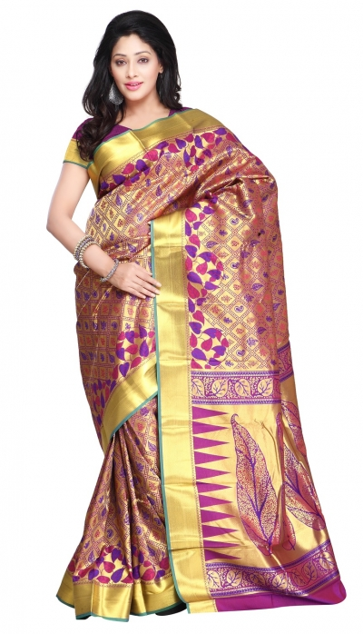 Kanchipuram Silk Full Brocade Zari Leaves Theme Pallu Art Saree-Royal Blue Red