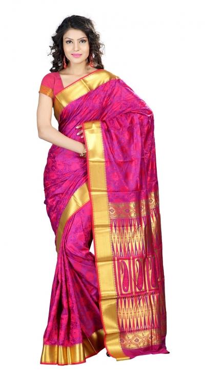Nandani Art Silk Rich ZariPallu Emboss Art arrow saree-Rani