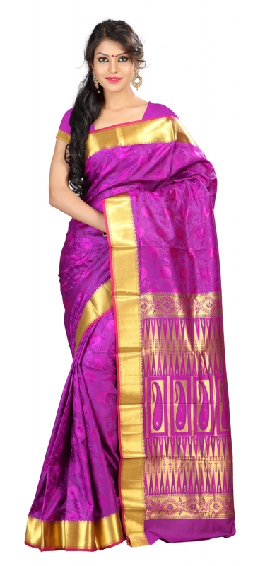 Nandani Art Silk Rich ZariPallu Emboss Art arrow saree-Purple
