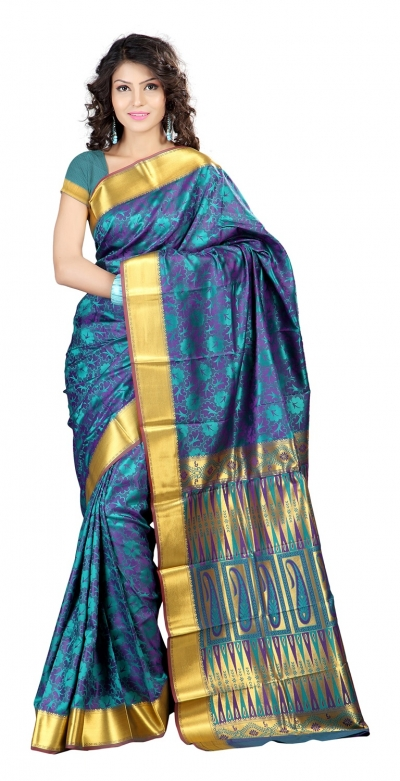 Nandani Art Silk Rich ZariPallu Emboss Art arrow saree-Rama Green