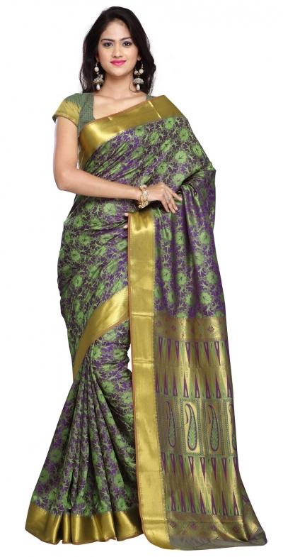Nandani Art Silk Rich ZariPallu Emboss Art arrow saree-Pastel Green