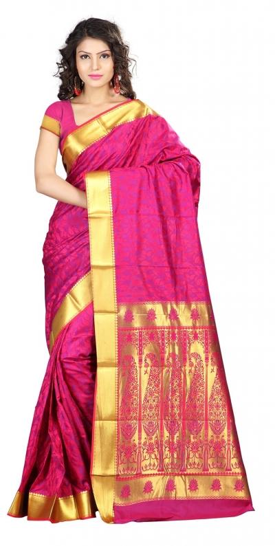 Nandani Art Silk Rich ZariPallu Emboss Art small leaf saree-Rani