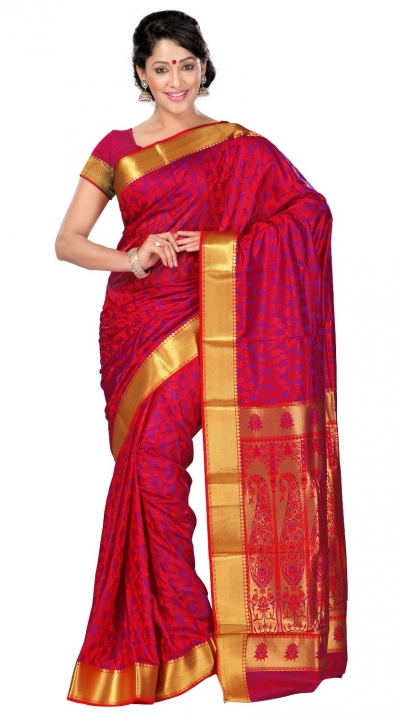 Nandani Art Silk Rich ZariPallu Emboss Art small leaf saree-Red