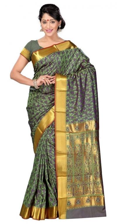 Nandani Art Silk Rich ZariPallu Emboss Art small leaf saree-Pastel Green