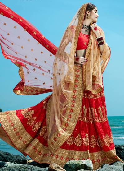 Red-net-embroidered-work-wedding-wear-lehenga-choli-399
