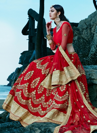 Red-net-embroidered-work-wedding-wear-lehenga-choli-403