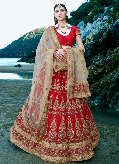 Red-net-embroidered-work-wedding-wear-lehenga-choli-404
