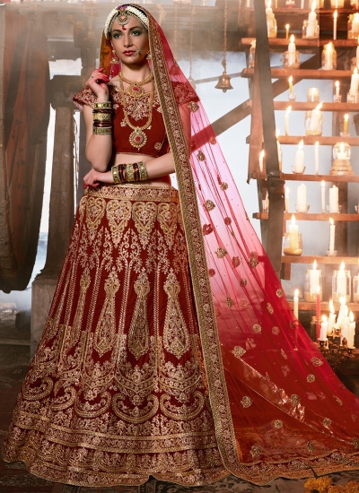 maroon-velvet-wedding-wear-patch-work-a-line-lehenga-345