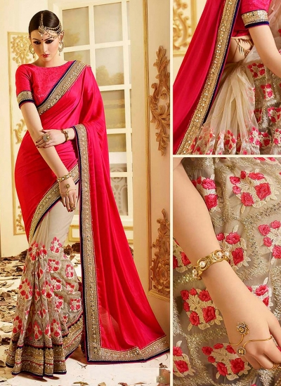 patch-border-work-party-wear-saree-red-chiffon