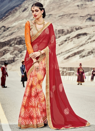 faux-georgette-heavy-embroidery-work-party-wear-Saree-red-2009