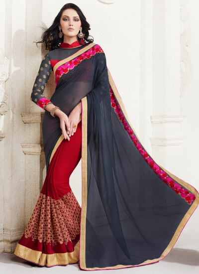 georgette-embroidery-work-party-wear-saree-black-2507