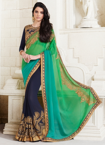 georgette-embroidery-work-party-wear-saree-green-2511