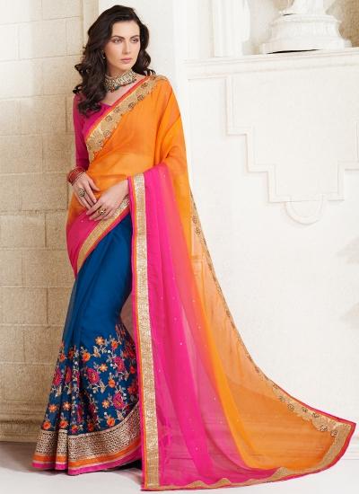 georgette-embroidery-work-party-wear-saree-orange-2516