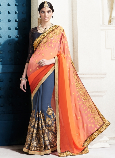 georgette-embroidery-work-party-wear-saree-orange-2520