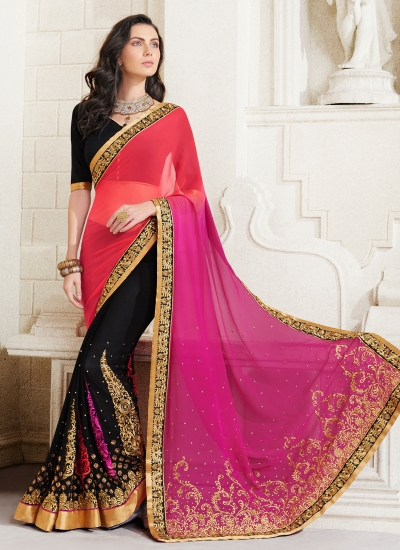 georgette-embroidery-work-party-wear-saree-pink-2514