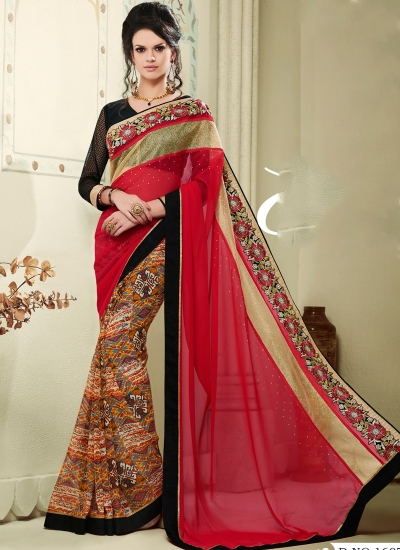 georgette-lace-border-work-party-wear-saree-multi-colour-1607