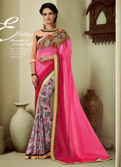 georgette-lace-border-work-party-wear-saree-pink-1613