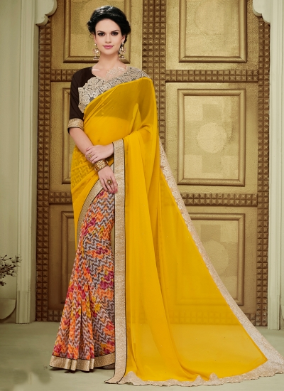 georgette-lace-border-work-party-wear-saree-yellow-1612