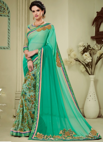 georgette-patch-work-party-wear-saree-sea-green-1601