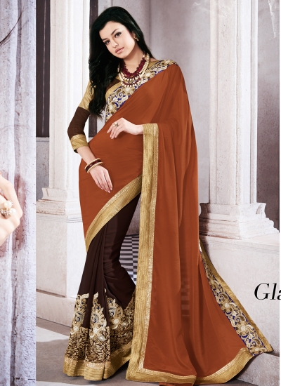 georgette-embroidered-work-party-wear-saree-brown-9509